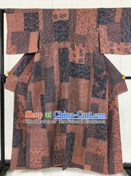 Japanese Ancient Samurai Kimono Costume Coffee Yukata Robe Traditional Wafuku Hakama Haori for Men
