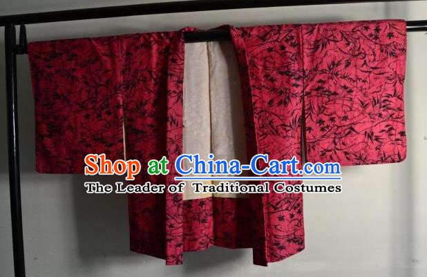 Japanese National Costume Kimonos Haori Blouse Kimono Ancient Yukata Red Shirts for Women