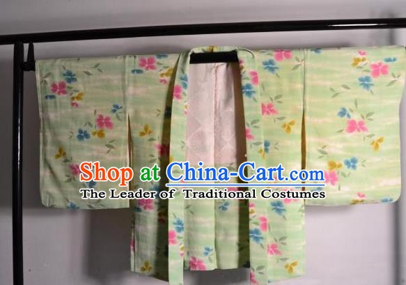 Japanese National Costume Kimonos Haori Blouse Kimono Ancient Yukata Green Shirts for Women