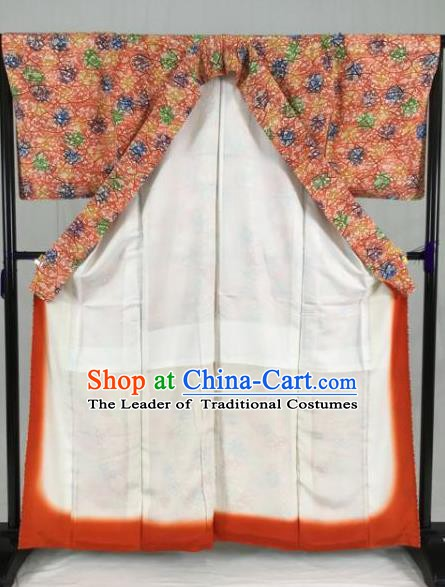 Japan Traditional Kimono Printing Furisode Kimono Ancient Yukata Dress Formal Costume for Women