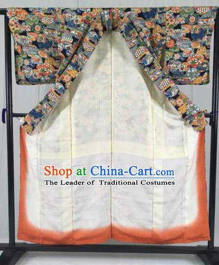 Japanese Traditional Printing Kimono Ancient Yukata Robe Wafuku Hakama Haori Clothing for Men