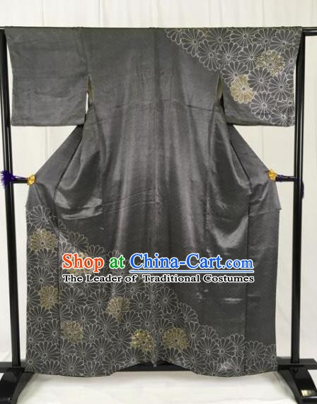 Japanese Traditional Black Kimono Ancient Samurai Yukata Robe Wafuku Hakama Haori Clothing for Men