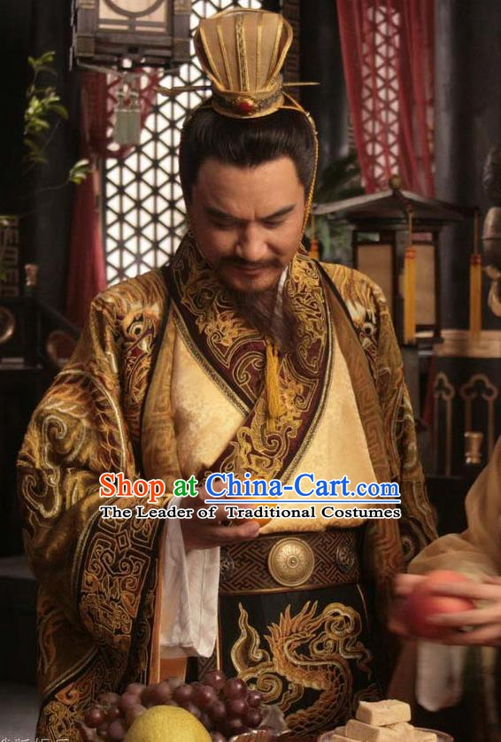 Chinese Song Dynasty Emperor Renzong Clothing Ancient Imperator Zhao Zhen Replica Costume for Men