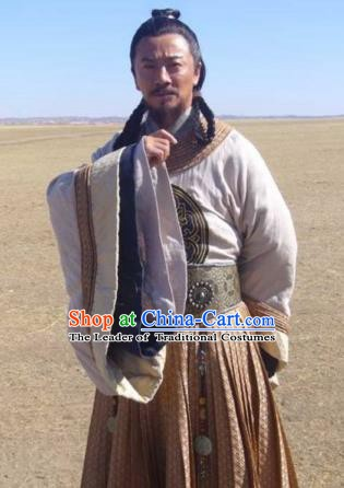 Chinese Ancient Song Dynasty Mongol Empire Politician Yelu Chucai Replica Costume for Men