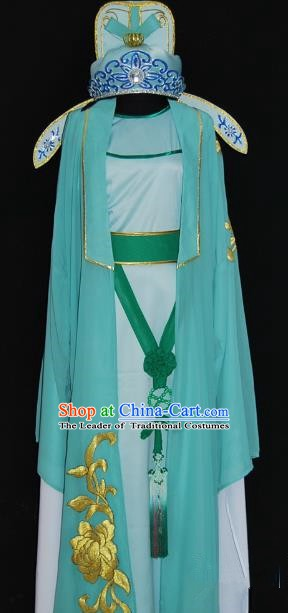 China Traditional Beijing Opera Niche Green Robe Chinese Peking Opera Scholar Costume