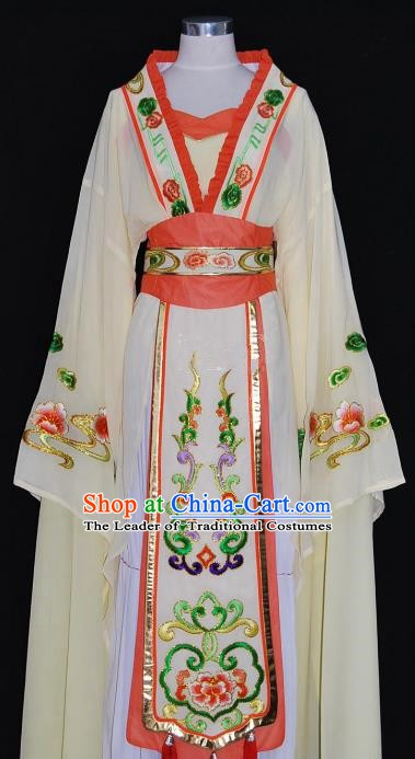 China Traditional Beijing Opera Actress Costume Chinese Shaoxing Opera Huadan Embroidered Yellow Dress