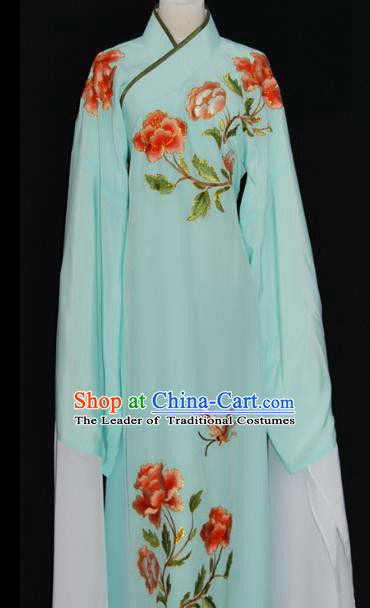 China Traditional Beijing Opera Niche Embroidered Green Robe Chinese Peking Opera Scholar Costume