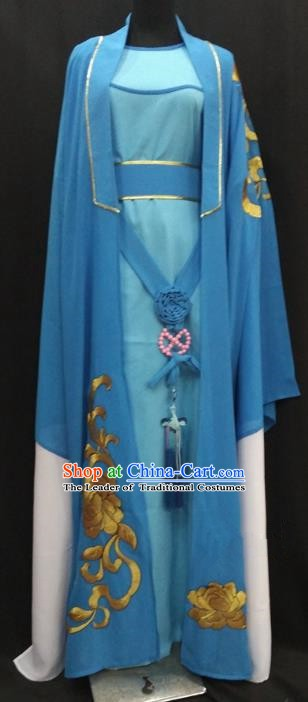 China Traditional Beijing Opera Young Men Embroidered Costume Chinese Peking Opera Niche Blue Robe for Adults