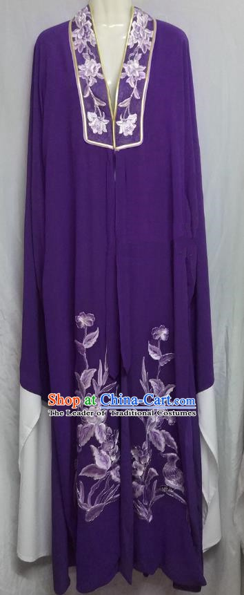 China Traditional Beijing Opera Scholar Costume Chinese Peking Opera Niche Purple Robe for Adults
