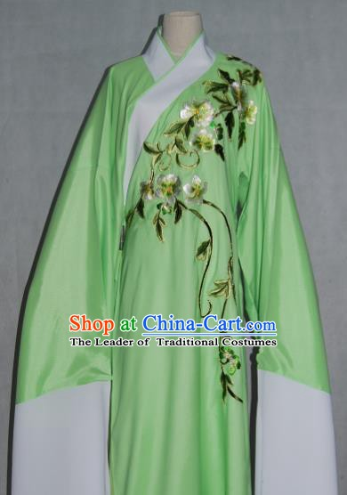 China Traditional Beijing Opera Niche Costume Chinese Peking Opera Water Sleeve Embroidered Green Robe for Adults