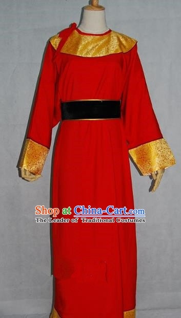 China Traditional Beijing Opera Niche Costume Chinese Peking Opera Eunuch Red Robe for Adults