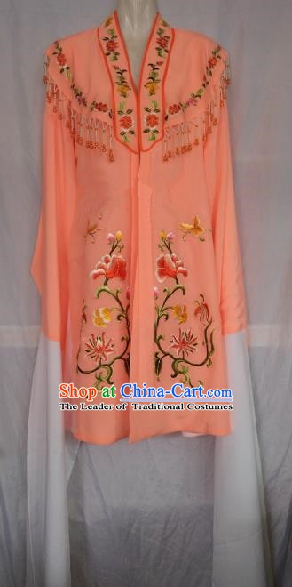 China Traditional Beijing Opera Actress Embroidered Orange Cloak Chinese Peking Opera Princess Costume