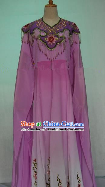 China Traditional Beijing Opera Actress Embroidered Purple Dress Chinese Peking Opera Princess Costume