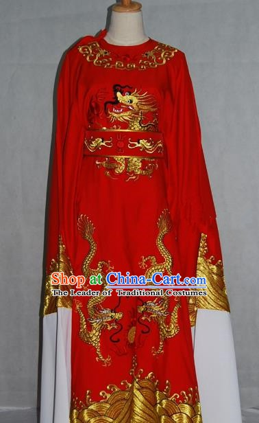 China Traditional Beijing Opera Niche Costume Chinese Peking Opera Lang Scholar Red Embroidered Robe for Adults