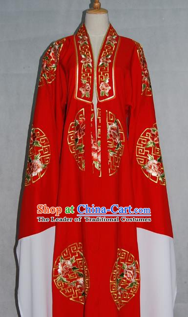 China Traditional Beijing Opera Niche Costume Embroidered Red Cape Chinese Peking Opera Scholar Clothing for Adults