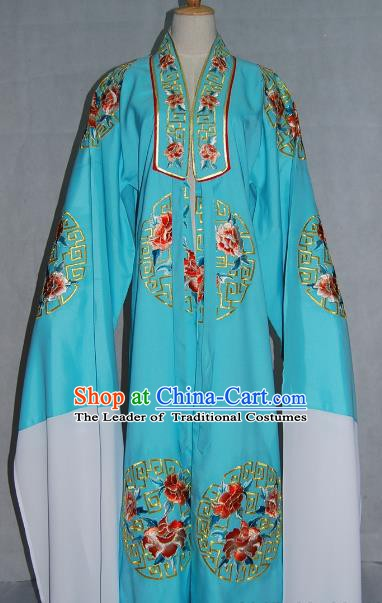 China Traditional Beijing Opera Niche Costume Embroidered Blue Cape Chinese Peking Opera Scholar Clothing for Adults