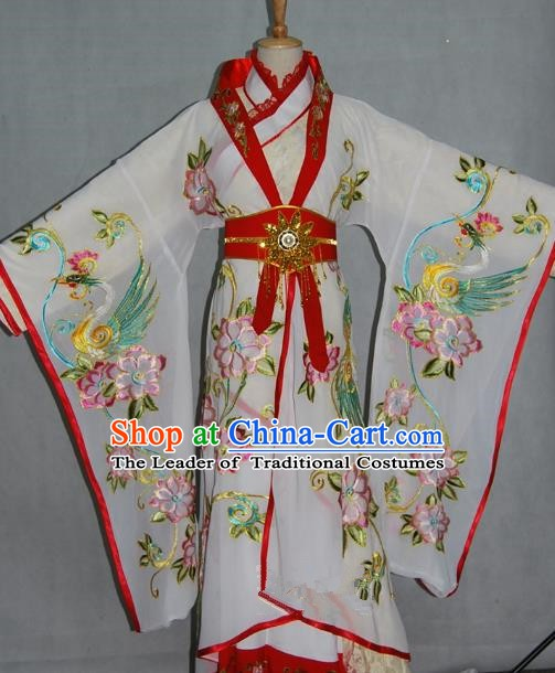 China Traditional Beijing Opera Empress Embroidered White Dress Chinese Peking Opera Actress Costume