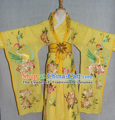 China Traditional Beijing Opera Empress Embroidered Yellow Dress Chinese Peking Opera Actress Costume