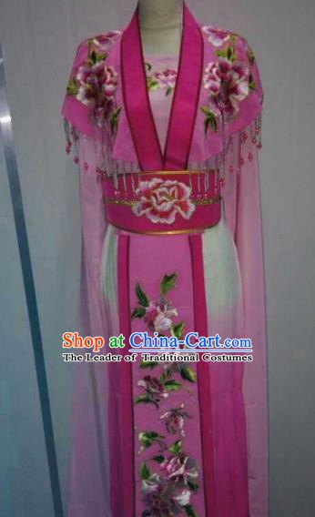 China Traditional Beijing Opera Palace Princess Embroidered Rosy Dress Chinese Peking Opera Actress Costume