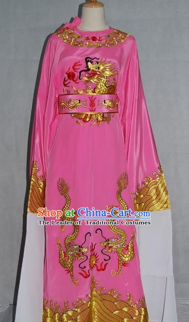 China Traditional Beijing Opera Niche Costume Chinese Peking Opera Lang Scholar Pink Embroidered Robe for Adults