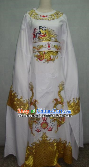 China Traditional Beijing Opera Niche Costume Chinese Peking Opera Lang Scholar White Embroidered Robe for Adults