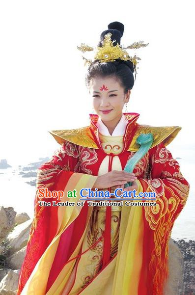 Chinese Ancient Goddess Matsu Costume Song Dynasty Female Fisher Lin Moniang Embroidered Replica Costume