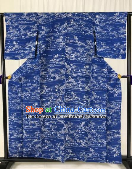 Japanese National Costume Palace Blue Kimono Ancient Male Hakama Yukata Robe for Men