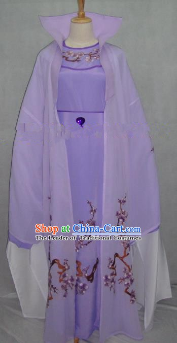 China Traditional Beijing Opera Embroidered Plum Blossom Purple Robe Chinese Peking Opera Scholar Costume for Adults