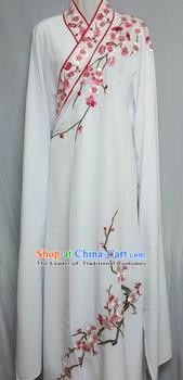 China Beijing Opera Embroidered Plum Blossom White Robe Chinese Traditional Peking Opera Scholar Costume for Adults