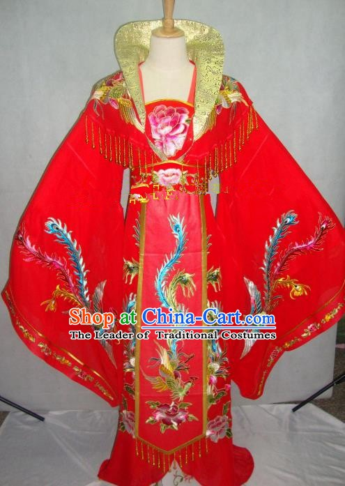 Traditional China Beijing Opera Diva Embroidered Red Dress Chinese Peking Opera Empress Costume