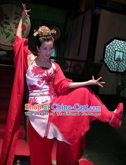 Chinese Traditional Song Dynasty Courtesan Dance Dress Geisha Replica Costume for Women