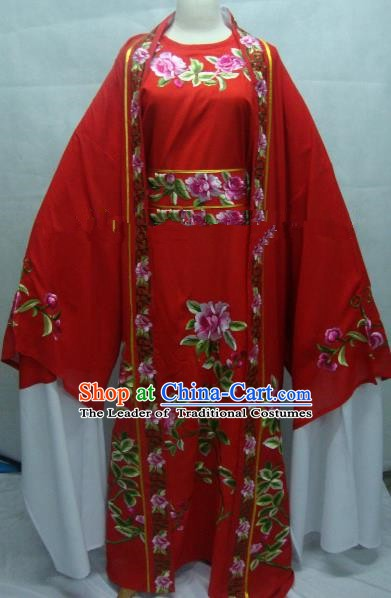 China Beijing Opera Niche Embroidered Peony Red Clothing Chinese Traditional Peking Opera Scholar Costume for Adults