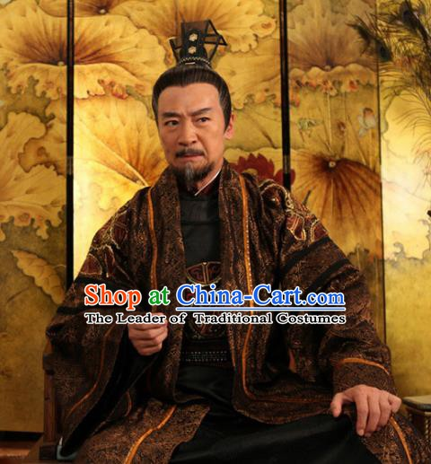 Traditional Chinese Tang Dynasty Chancellor Wu Sansi Hanfu Costume for Men