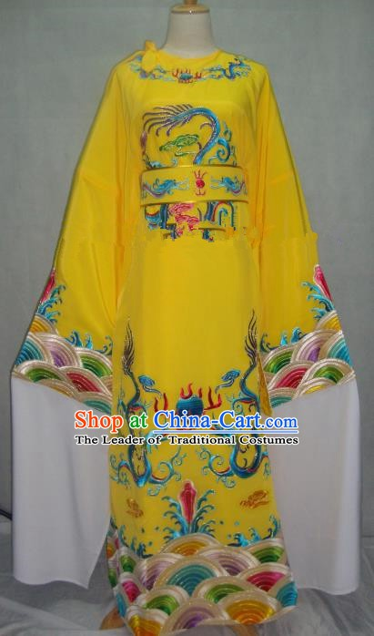 China Beijing Opera Lang Scholar Yellow Embroidered Robe Chinese Traditional Peking Opera Niche Costume for Adults