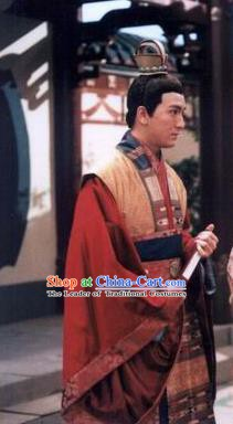Traditional Chinese Tang Dynasty De Emperor Li Kuo Replica Costume for Men