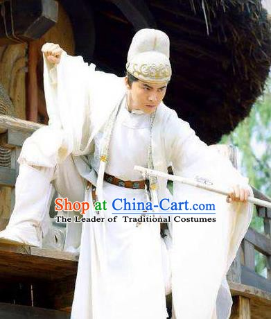 Traditional Chinese Tang Dynasty Nobility Childe Swordsman Wang Yuanfang Replica Costume for Men