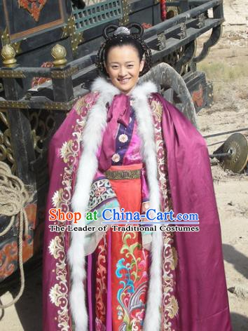 Chinese Traditional Tang Dynasty Palace Princess Embroidered Replica Costume Complete Set for Women