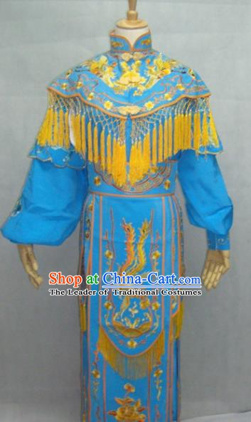 Traditional China Beijing Opera Female Warrior Blue Dress Chinese Peking Opera General Costume