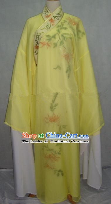 China Beijing Opera Lang Scholar Yellow Embroidered Chrysanthemum Robe Chinese Traditional Peking Opera Niche Costume for Adults