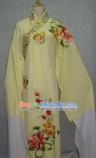 Traditional Chinese Beijing Opera Scholar Niche Costume Embroidered Butterfly Peony Yellow Robe for Adults