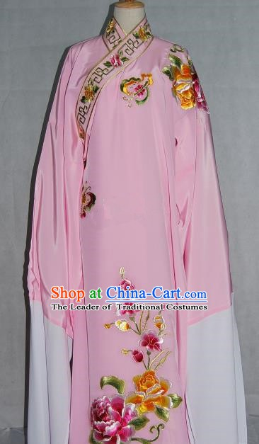 Traditional Chinese Beijing Opera Scholar Niche Costume Embroidered Butterfly Peony Pink Robe for Adults