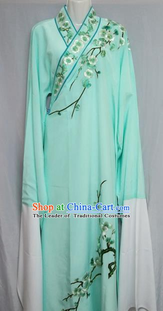 Traditional Chinese Beijing Opera Niche Costume Embroidered Plum Blossom Green Robe for Adults