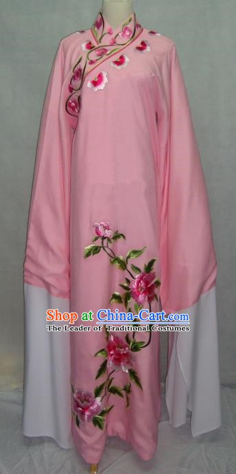 Traditional Chinese Beijing Opera Niche Scholar Embroidery Peony Costume Beijing Opera Pink Robe for Adults