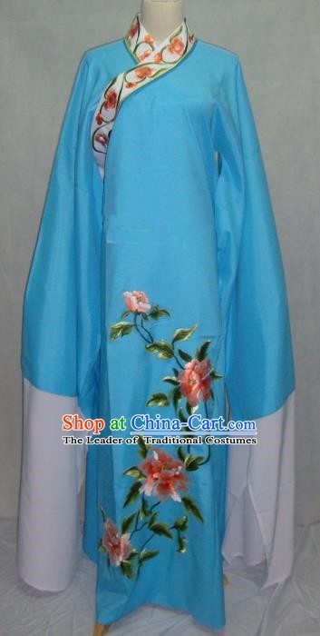 Traditional Chinese Beijing Opera Niche Scholar Embroidery Peony Costume Beijing Opera Blue Robe for Adults