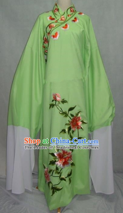 Traditional Chinese Beijing Opera Niche Scholar Embroidery Peony Costume Beijing Opera Green Robe for Adults