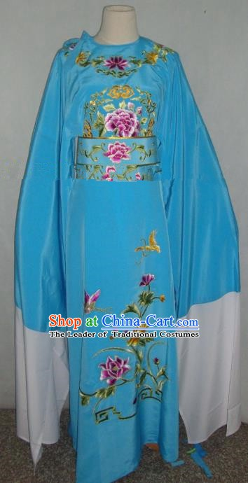Traditional Chinese Shaoxing Opera Niche Scholar Embroidery Costume Beijing Opera Blue Robe for Adults