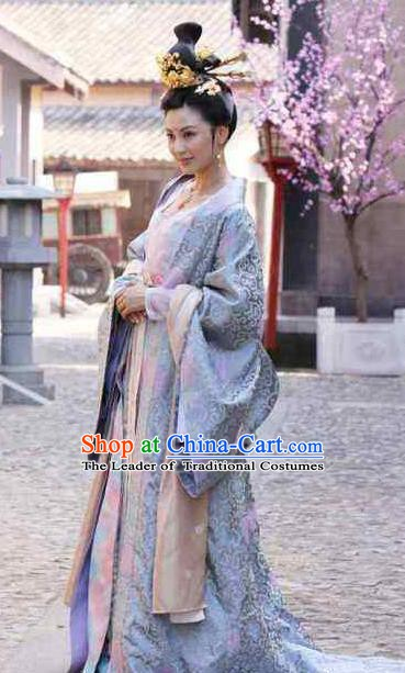 Chinese Ancient Tang Dynasty Female Officials Shangguan Wan-Er Embroidered Dress Palace Lady Replica Costume for Women