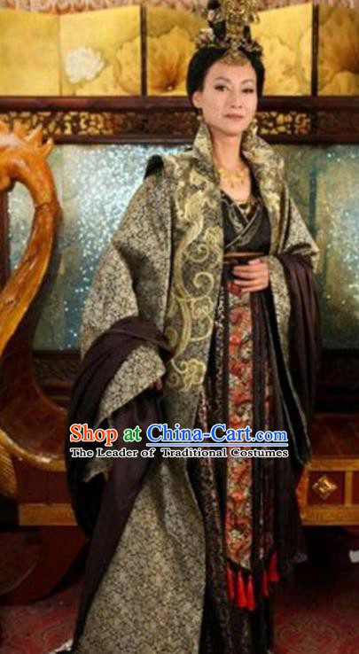 Chinese Ancient Tang Dynasty Embroidered Dress Empress Wu Zetian Replica Costume for Women