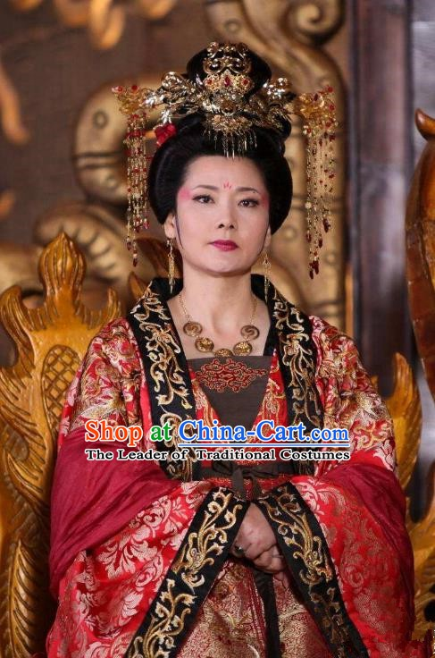 Chinese Ancient Tang Dynasty Embroidered Dress Empress Wei Replica Costume for Women