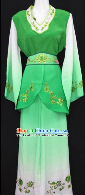 Traditional China Beijing Opera Young Lady Green Dress Chinese Peking Opera Maidservants Costume